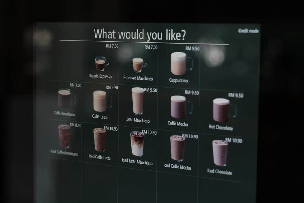 13 varieties of hot and iced coffee