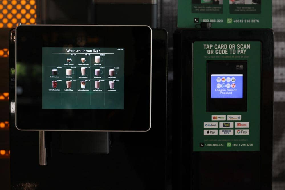 The kiosk offers various cashless payment options